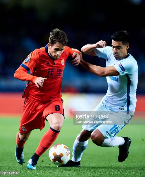 Adnan Januzaj of Real Sociedad reacts during the UEFA Europa League group L football match between Real Sociedad de Futbol and FC Zenit Saint...