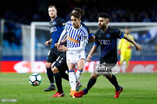 Adnan Januzaj of Real Sociedad Ruben Duarte of Deportivo Alaves during the Dutch Eredivisie match between Vitesse v Ajax at the GelreDome on March 4...