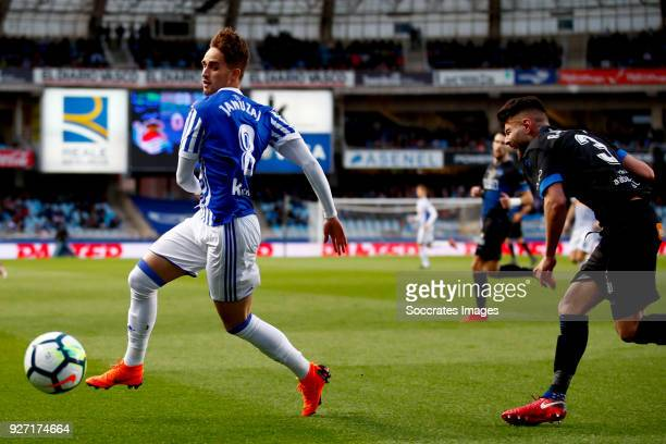 Adnan Januzaj of Real Sociedad Ruben Duarte of Deportivo Alaves during the match between Real Sociedad v Deportivo Alaves at the Estadio Anoeta on...