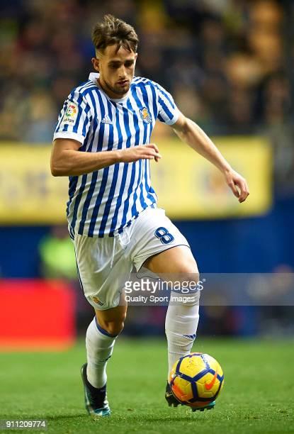 Adnan Januzaj of Real Sociedad runs with the ball during the La Liga match between Villarreal and Real Sociedad at Estadio de La Ceramica on January...