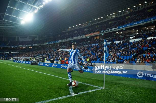 Adnan Januzaj of Real Sociedad takes a corner kick during the La Liga match between Real Sociedad and Levante UD at Estadio Anoeta on March 15 2019...