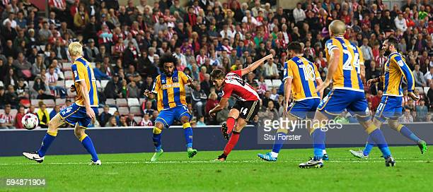 Adnan Januzaj of Sunderland scores the opening goal during the EFL Cup second round match between Sunderland and Shrewsbury Town at Stadium of Light...