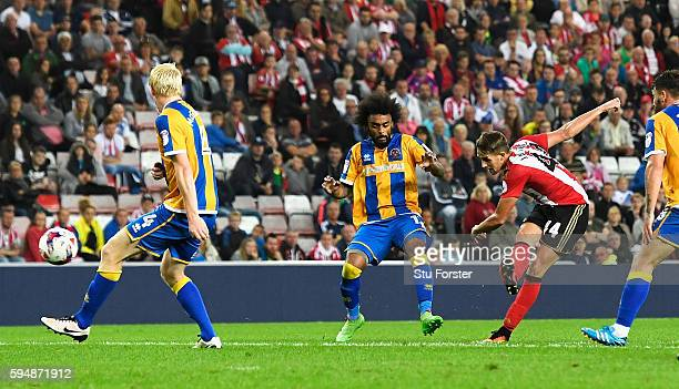 Adnan Januzaj of Sunderland scores the opening goal during the EFL Cup second round match between Sunderland and Shrewsbury Town at Stadium of Light...