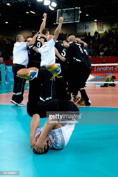 Adnan Kesmer of Bosnia and Herzegovina celebrates after winning the gold in the Men's Sitting Volleyball competition on day 10 of the London 2012...