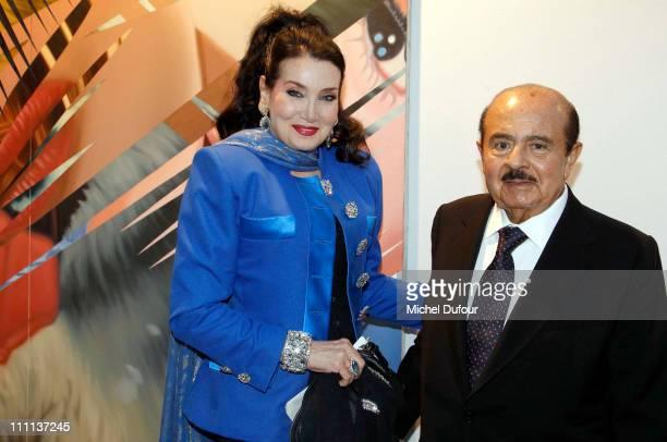 Adnan Khashoggi and his wife Lamia Khashoggi attend the 'Dessine L'Espoir' Dinner during Art Paris Festival at Grand Palais on March 29 2011 in Paris...