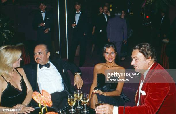 Adnan Khashoggi at an evening event with Alfonso Prince of Hohenlohe Langenburg in Marbella, Spain, 1984.