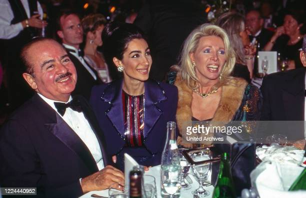 Adnan Khashoggi with wife Soraya and Ute Ohoven at UNESCO Gala in Neuss, Germany, 1996.