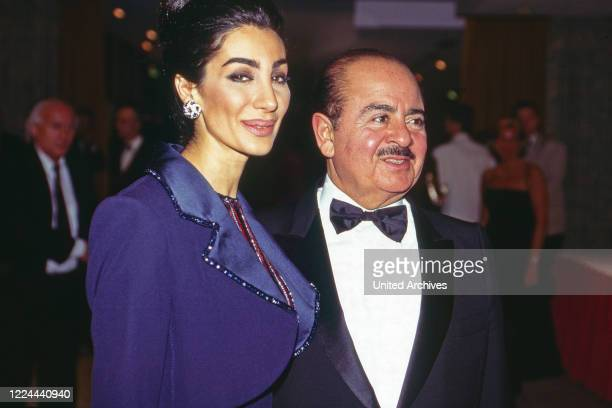 Adnan Khashoggi with wife Soraya at UNESCO Gala in Neuss, Germany, 1996.