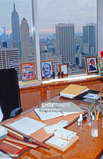 Adnan Khashoggi's desk in his office at Olympic Tower in New York, USA 1986.