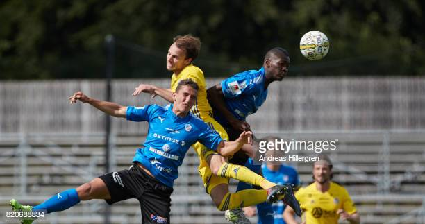 Adnan Kojic and Aboubakar Keita of Halmstad BK and Lars Krogh Gerson of GIF Sundsvall during the Allsvenskan match between Halmstad BK and GIF...