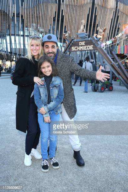 Adnan Maral and his wife Franziska Maral and daughter Emel Maral during the premiere of the film 'Ostwind Aris Ankunft' at Equilaland on February 17...