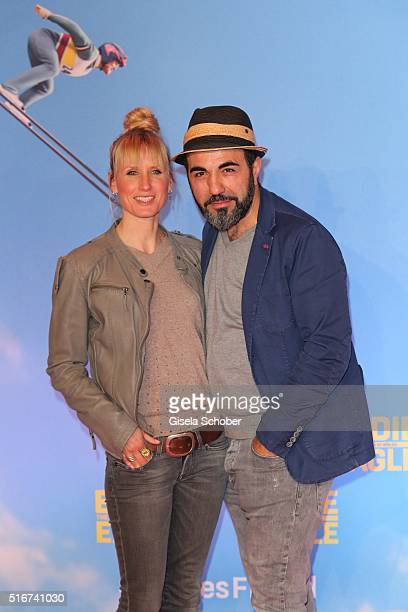 Adnan Maral and his wife Franziska Maral during the 'Eddie the Eagle' premiere at Mathaeser Filmpalast on March 20 2016 in Munich Germany