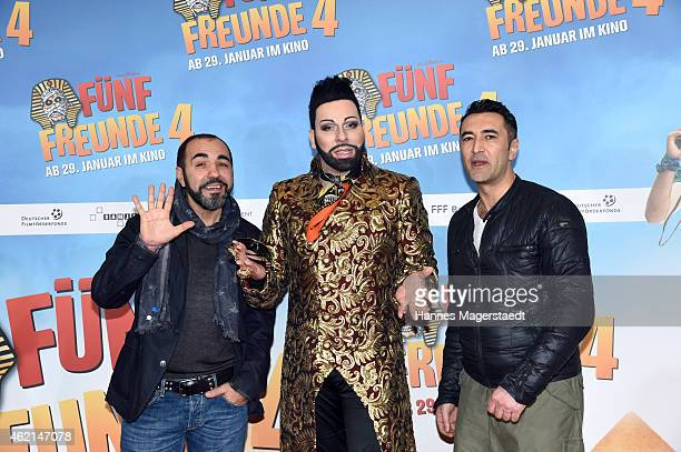 Adnan Maral Jens Atzorn and Harald Gloeoeckler attend the premiere of the film 'Fuenf Freunde 4' at Cinemaxx on January 25 2015 in Munich Germany