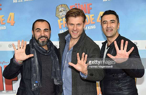 Adnan Maral Jens Atzorn and Mehmet Kurtulus attend the premiere of the film 'Fuenf Freunde 4' at Cinemaxx on January 25 2015 in Munich Germany