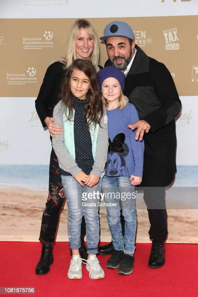 Adnan Maral with his wife Franziska Maral and daughter Emel and a friend during the premiere of the film 'Immenhof Das Abenteuer eines Sommers' at...