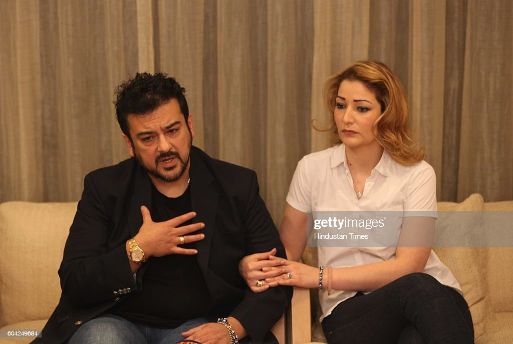 Adnan Sami With His Wife Roya During A Press Conference At Oberoi