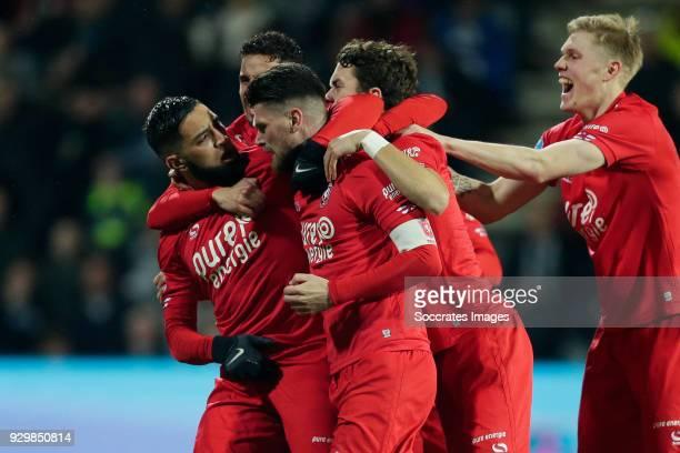 Adnane Tighadouini of FC Twente celebrates 0-1 with Adnane Tighadouini of FC Twente, Adam Maher of FC Twente, Thomas Lam of FC Twente, Fredrik Jensen...