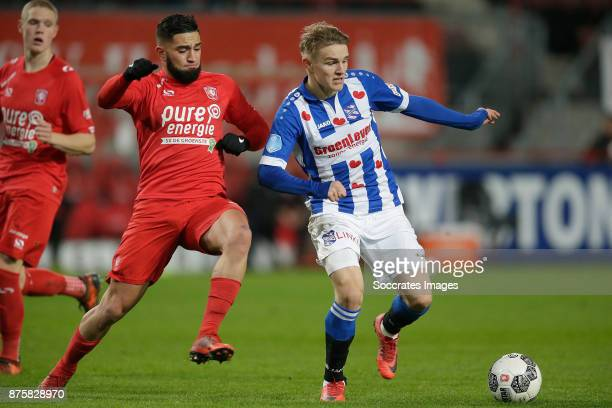 Adnane Tighadouini of FC Twente Martin Odegaard of SC Heerenveen during the Dutch Eredivisie match between Fc Twente v SC Heerenveen at the De...
