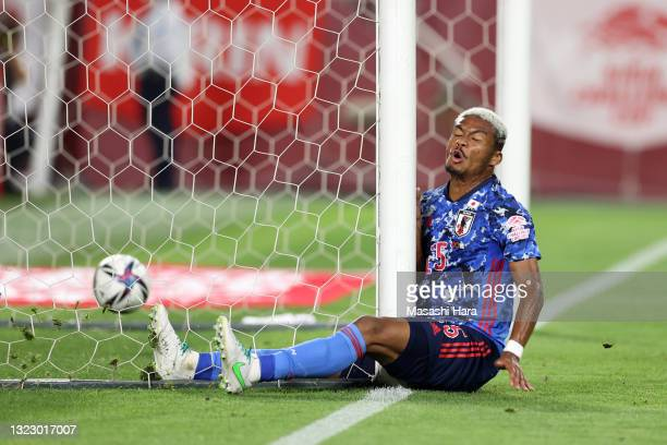 Ado Onaiwu of Japan reacts as he collides the post after scoring a disallowed goal during the international friendly match between Japan and Serbia...
