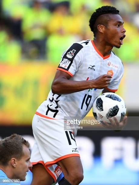 Ado Onaiwu of Renofa Yamaguchi celebrates scoring his side's first goal during the JLeague J2 match between JEF United Chiba and Renofa Yamaguchi at...
