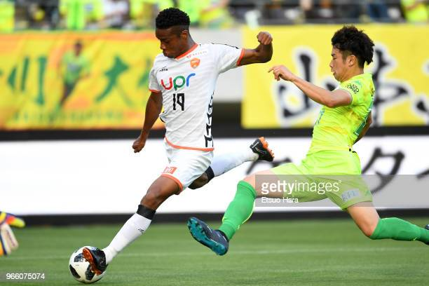 Ado Onaiwu of Renofa Yamaguchi in action during the JLeague J2 match between JEF United Chiba and Renofa Yamaguchi at Fukuda Denshi Arena on June 2...