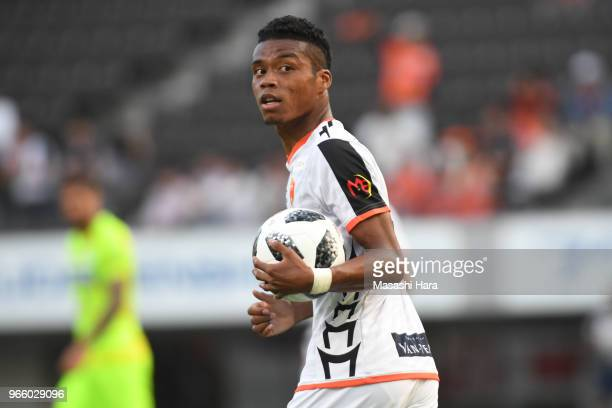 Ado Onaiwu of Renofa Yamaguchi looks on after the first goal during the JLeague J2 match between JEF United Chiba and Renofa Yamaguchi at Fukuda...