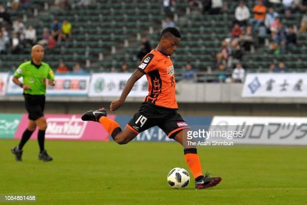 Ado Onaiwu of Renofa Yamaguchi shoots at goal during the JLeague J2 match between Renofa Yamaguchi and Avispa Fukuoka at Ishin MeLife Stadium on...