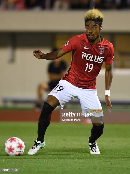 Ado Onaiwu of Urawa Red Diamonds in action during the 97th Emperor's Cup second round match between Urawa Red Diamonds and Gurlla Morioka at Urawa...