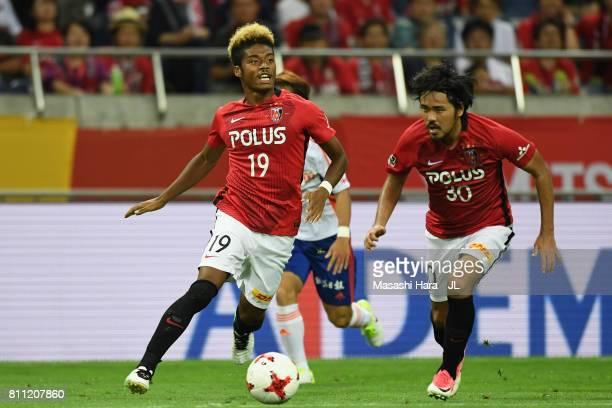 Ado Onaiwu of Urawa Red Diamonds in action during the JLeague J1 match between Urawa Red Diamonds and Albirex Niigata at Saitama Stadium on July 9...