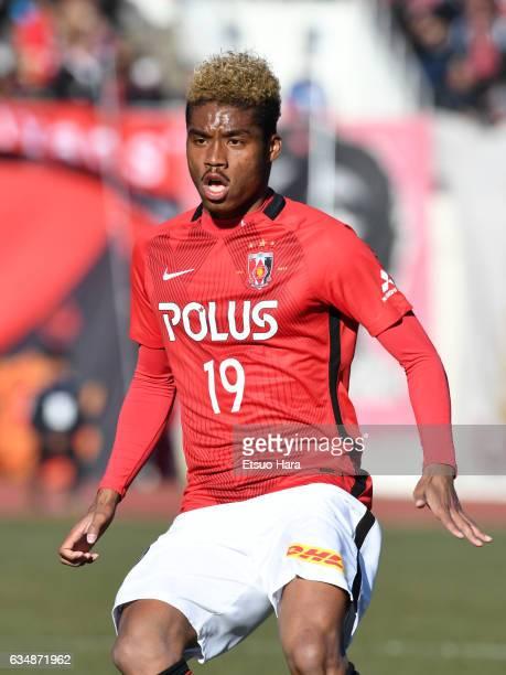 Ado Onaiwu of Urawa Red Diamonds in action during the preseason friendly between Urawa Red Diamonds and FC Seoul at Urawa Komaba Stadium on February...