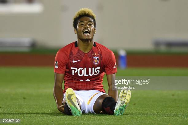 Ado Onaiwu of Urawa Red Diamonds looks on during the 97th Emperor's Cup second round match between Urawa Red Diamonds and Gurlla Morioka at Urawa...