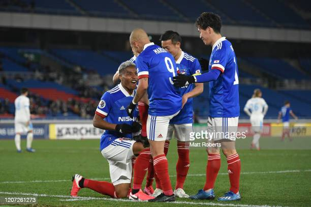Ado Onaiwu of Yokohama FMarinos celebrates scoring a goal with Junior Marcos during the AFC Champions League Group H match between Yokohama FMarinos...