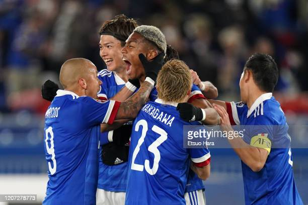 Ado Onaiwu of Yokohama FMarinos celebrates scoring his side's first goal during the AFC Champions League Group H match between Yokohama FMarinos and...