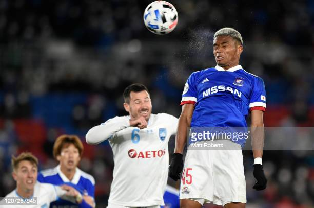Ado Onaiwu of Yokohama F.Marinos heads the ball during the AFC Champions League Group H match between Yokohama F.Marinos and Sydney FC at Nissan...