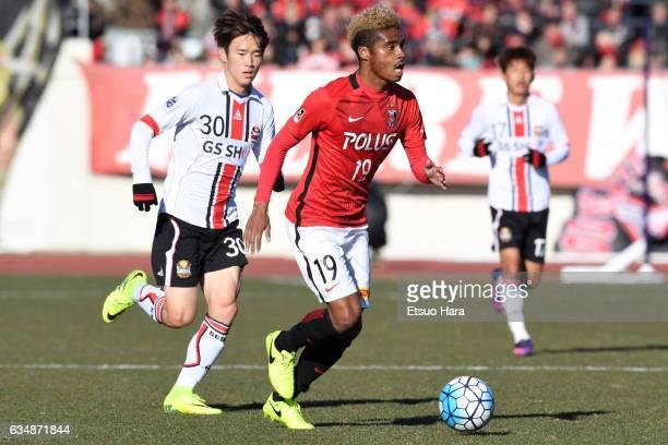 Ado Onaiwu#19 of Urawa Red Diamonds in action during the preseason friendly between Urawa Red Diamonds and FC Seoul at Urawa Komaba Stadium on...