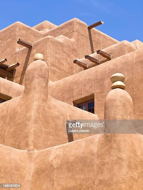 adobe balcony - santa fe new mexico stock pictures, royalty-free photos & images
