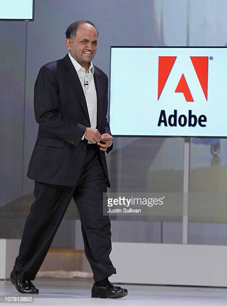 Adobe CEO Shantanu Narayen speaks during a keynote address by Samsung President and General Manager of Visual Display Business BooKeun Yoon at the...