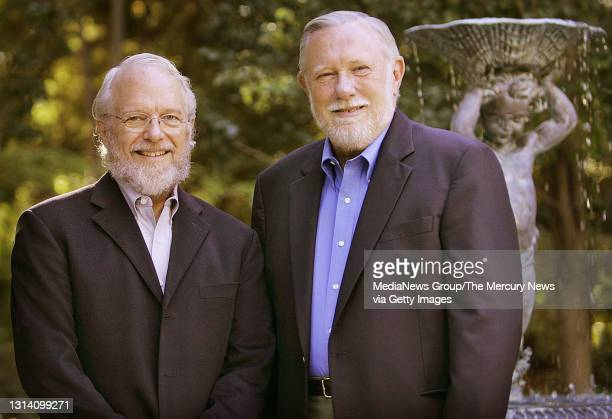 Adobe Inc. Co-founders John Warnock, left, and Charles Geschke, right, are photographed at the Geschke's Los Altos home on October 18, 2006 for a Q&A...