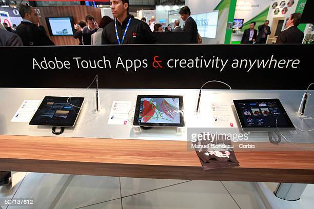Adobe Photoshop Touch for tablet on display at the Adobe stand during the Mobile World Congress in Barcelona on February 29 2012 on the Third day of...
