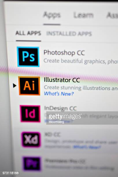 Adobe Systems Inc Creative Cloud application icons are displayed on a computer monitor in an arranged photograph taken in Tiskilwa Illinois US on...