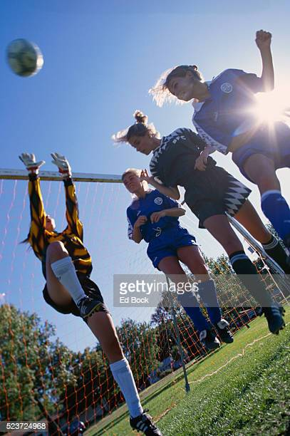 Adolescent Girls Playing Soccer