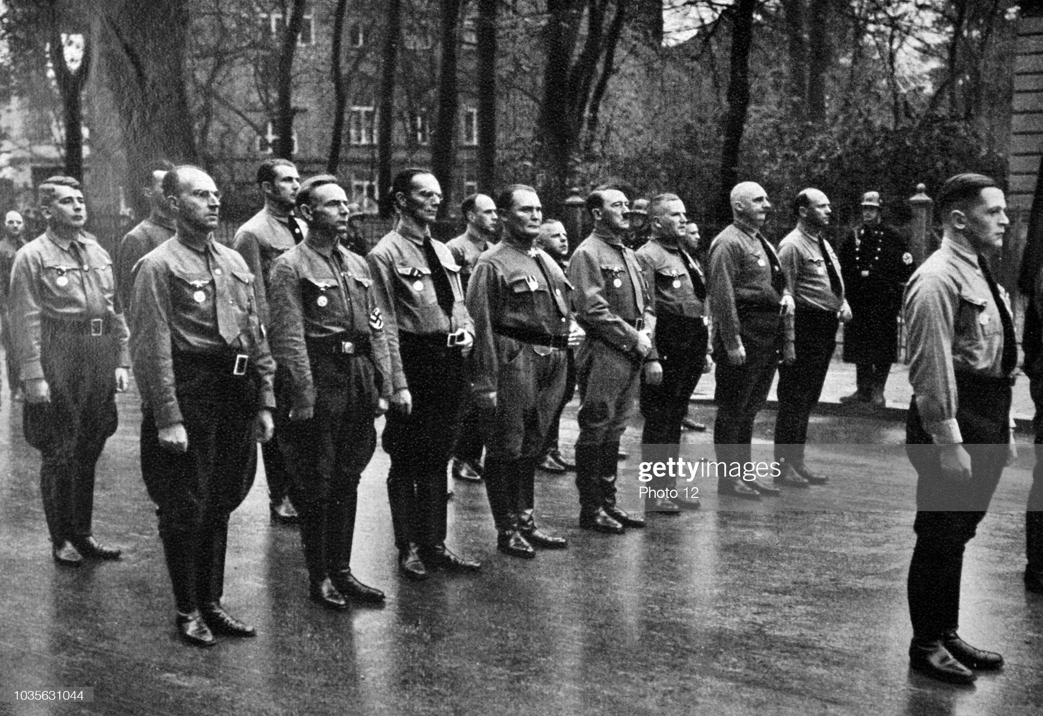 Adolf Hitler, with Brown Shirts in Munich. : News Photo