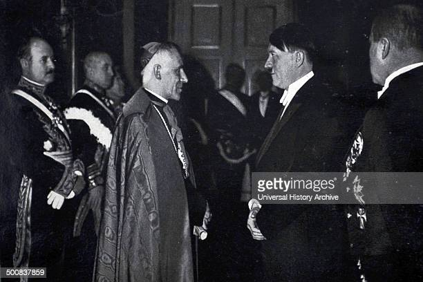 Adolf Hitler 18891945 German politician and the leader of the Nazi Party with the Vatican ambassador