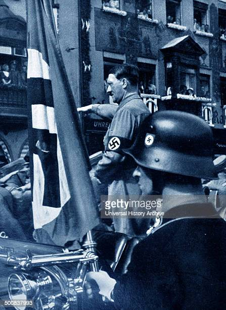 Adolf Hitler 18891945 German politician and the leader of the Nazi Party at a Rally in the early years 1923