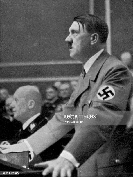 Adolf Hitler addresses the Reichstag Berlin Germany 18 March 1938 Six days earlier Nazi Germany had annexed Austria in the 'Anschluss' A print from...