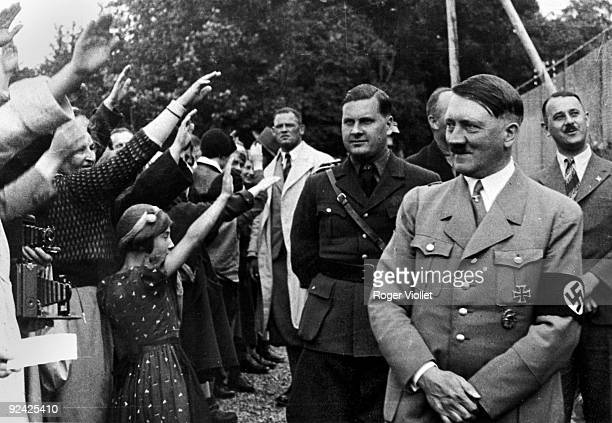 Adolf Hitler and Baldur von Schirach manager of the Hitler Youth greeted by civilians