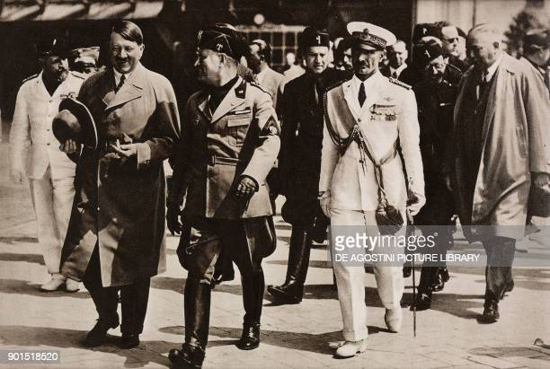 Adolf Hitler and Benito Mussolini at Lido airport during the first visit of the Fuhrer in Italy 15 June 1934 Venice Italy photo by BFA from...