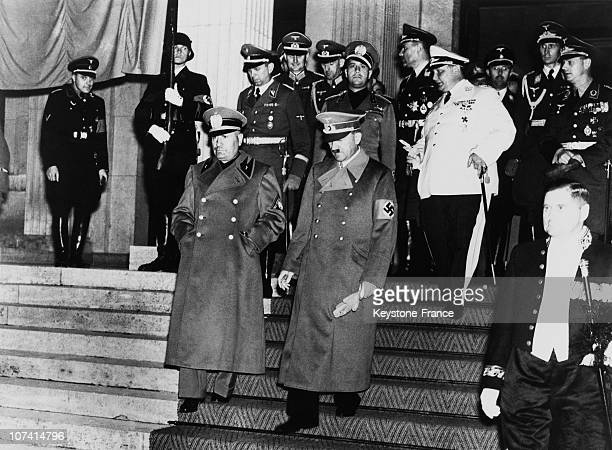 Adolf Hitler And Benito Mussolini In Germany On September 1938
