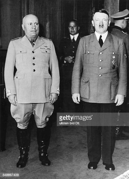 Adolf Hitler and Benito Mussolini in the 'Fuehrerbau' at the Koeniglicher Platz in Munich in the background the Italian Foreign Minister Count...