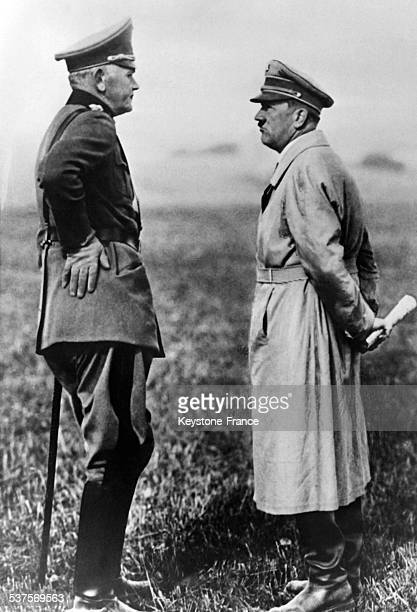 Adolf Hitler and General Werner von Blomberg Minister of the Reichswehr attend the maneuvers of the 5th Division in Ulm Germany in 1933